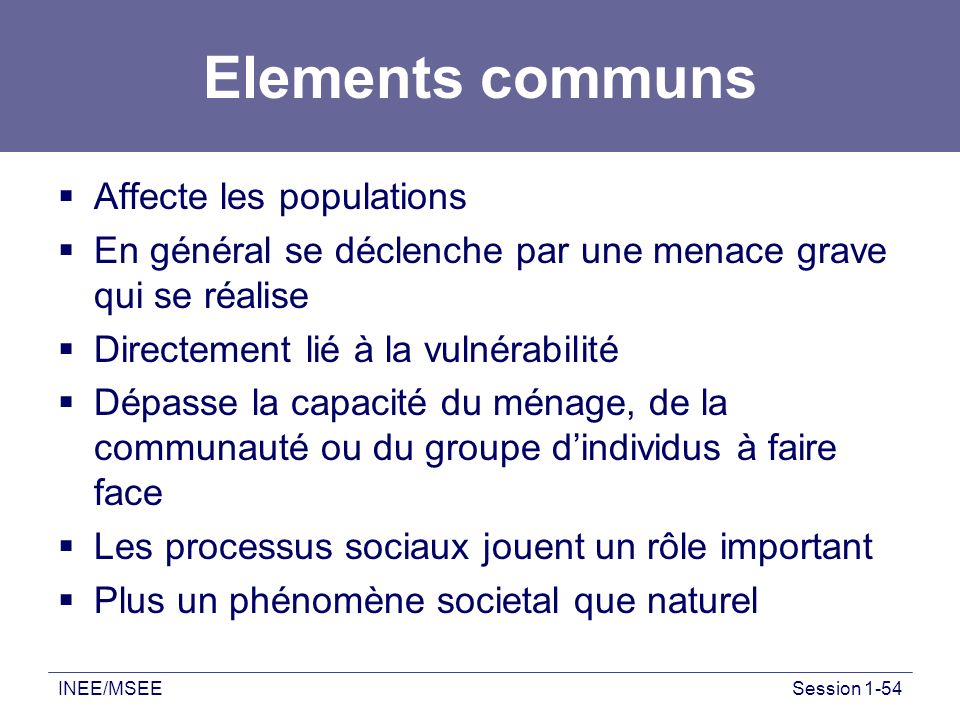 Elements communs Affecte les populations