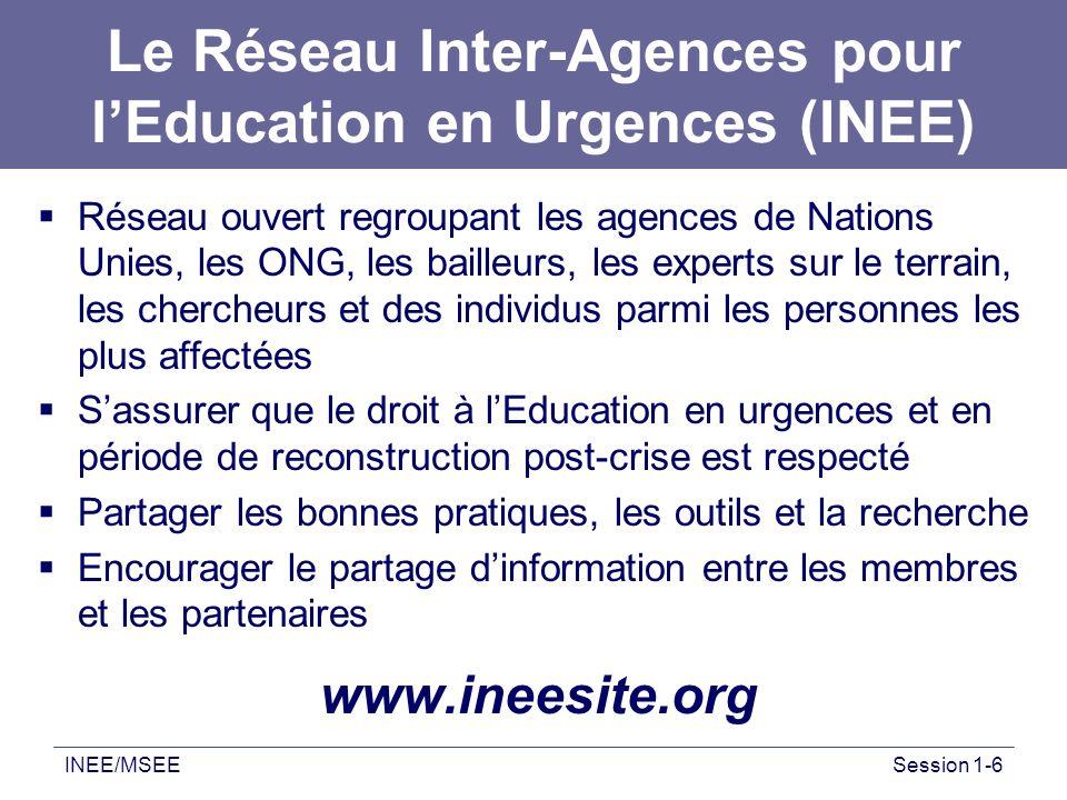 Le Réseau Inter-Agences pour l'Education en Urgences (INEE)