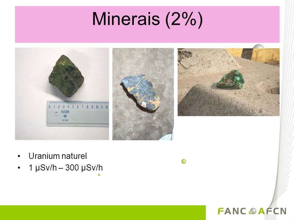 Minerais (2%) Et encore.... Uranium naturel 1 µSv/h – 300 µSv/h