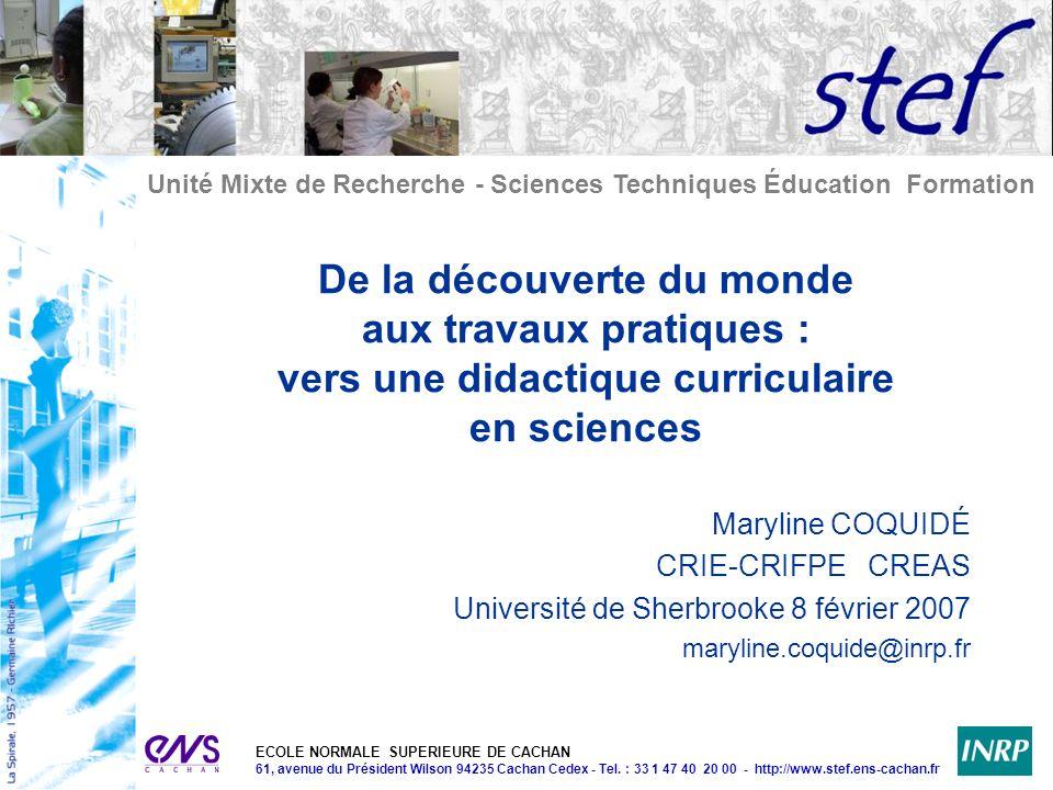 De la découverte du monde aux travaux pratiques : vers une didactique curriculaire en sciences
