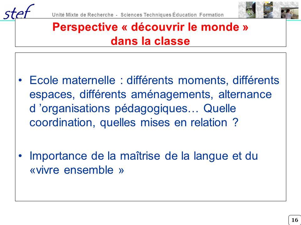 Perspective « découvrir le monde » dans la classe