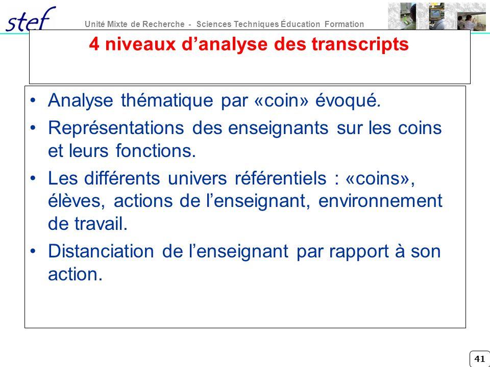 4 niveaux d'analyse des transcripts