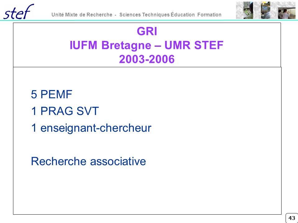 GRI IUFM Bretagne – UMR STEF 2003-2006