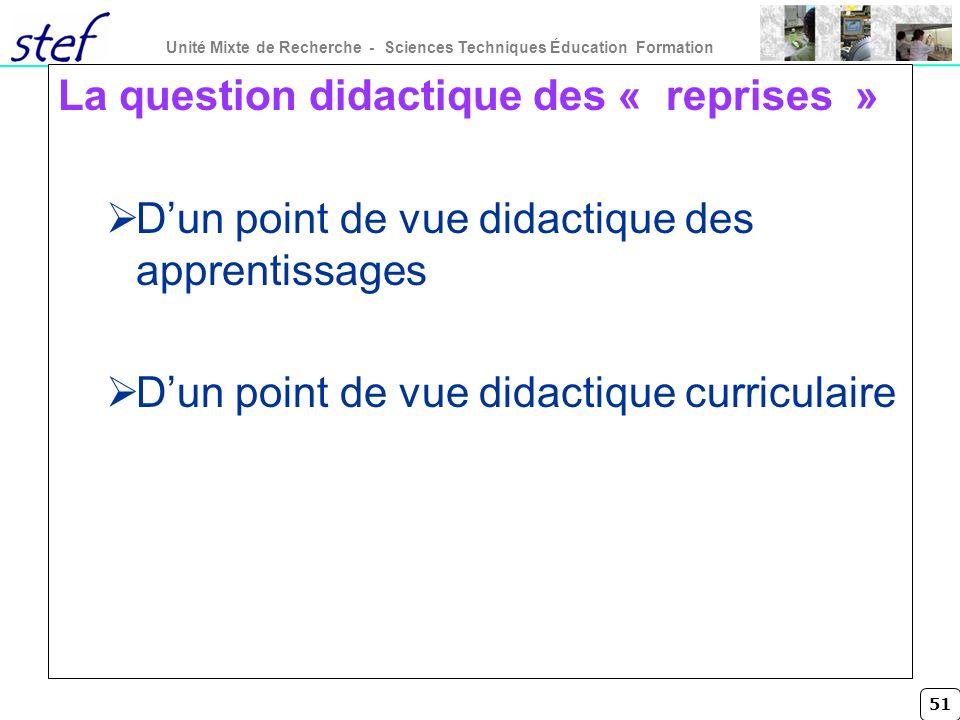 La question didactique des « reprises »