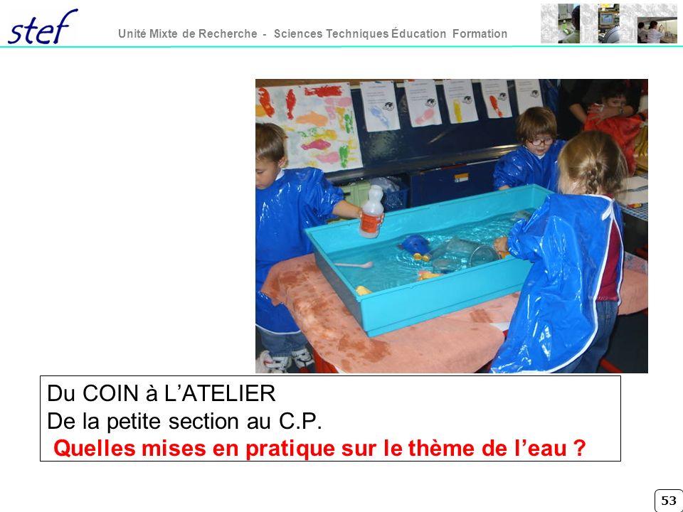 PHOTO Du COIN à L'ATELIER De la petite section au C.P.