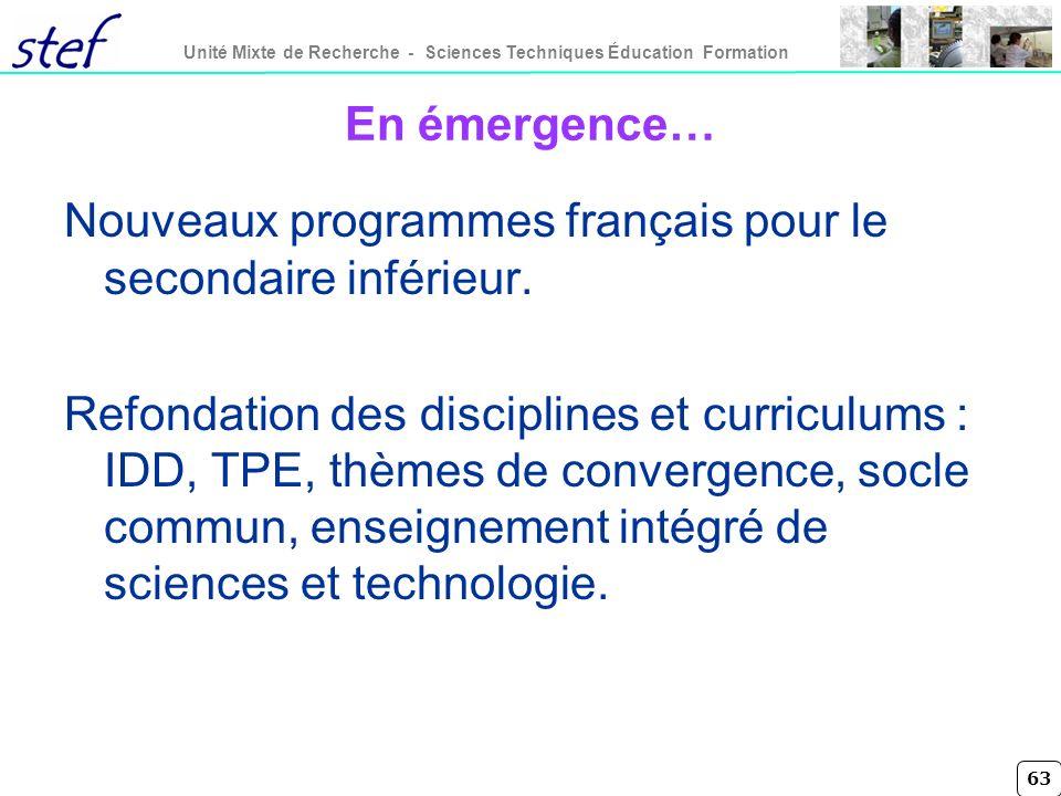 En émergence… Nouveaux programmes français pour le secondaire inférieur.