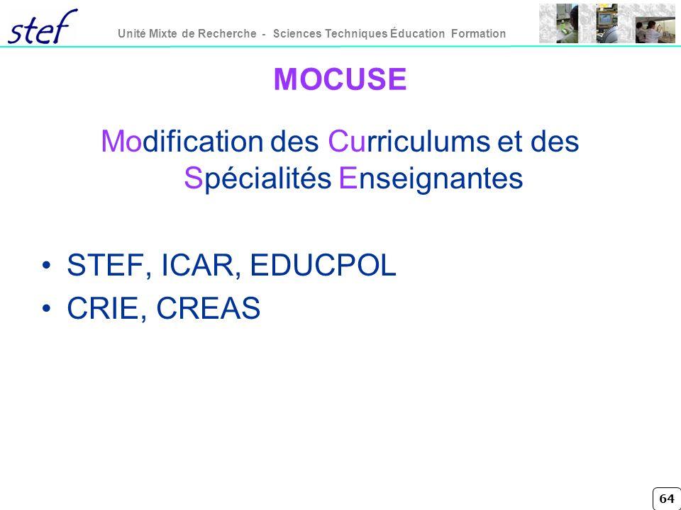 Modification des Curriculums et des Spécialités Enseignantes