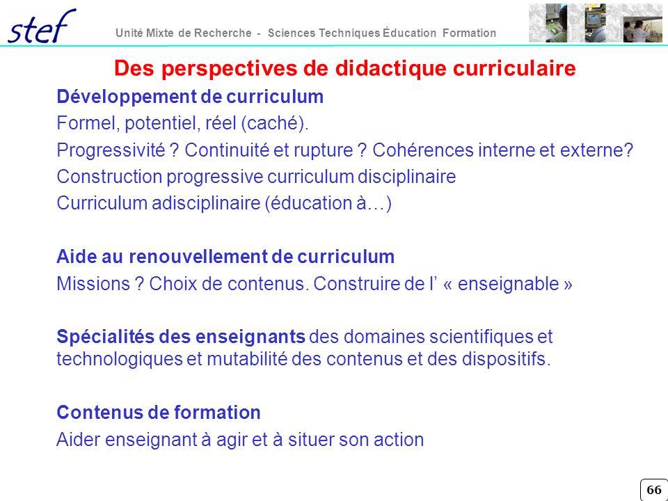 Des perspectives de didactique curriculaire