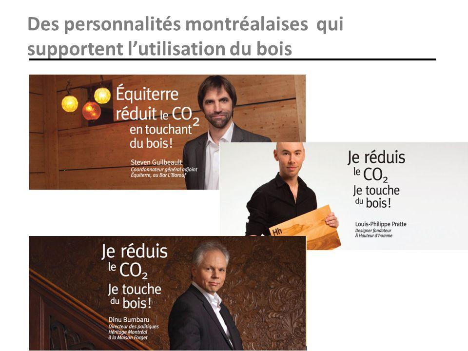 Des personnalités montréalaises qui supportent l'utilisation du bois
