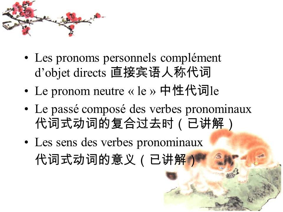 Les pronoms personnels complément d'objet directs 直接宾语人称代词