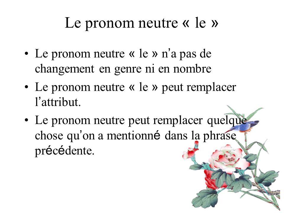 Le pronom neutre « le » Le pronom neutre « le » n'a pas de changement en genre ni en nombre. Le pronom neutre « le » peut remplacer l'attribut.