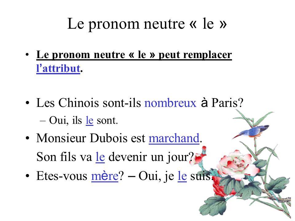 Le pronom neutre « le » Les Chinois sont-ils nombreux à Paris