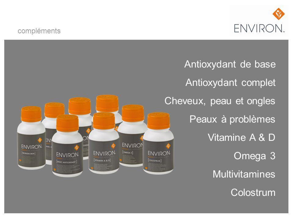 compléments Antioxydant de base Antioxydant complet Cheveux, peau et ongles Peaux à problèmes Vitamine A & D Omega 3 Multivitamines Colostrum.
