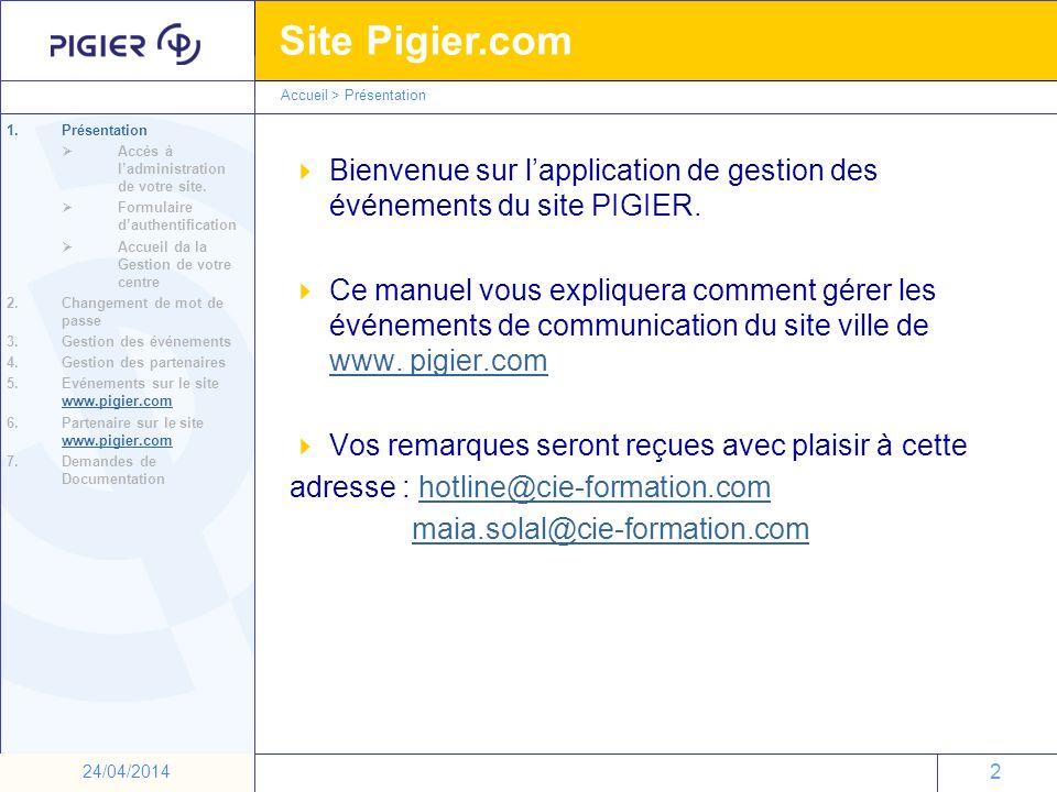 Bienvenue sur l'application de gestion des événements du site PIGIER.