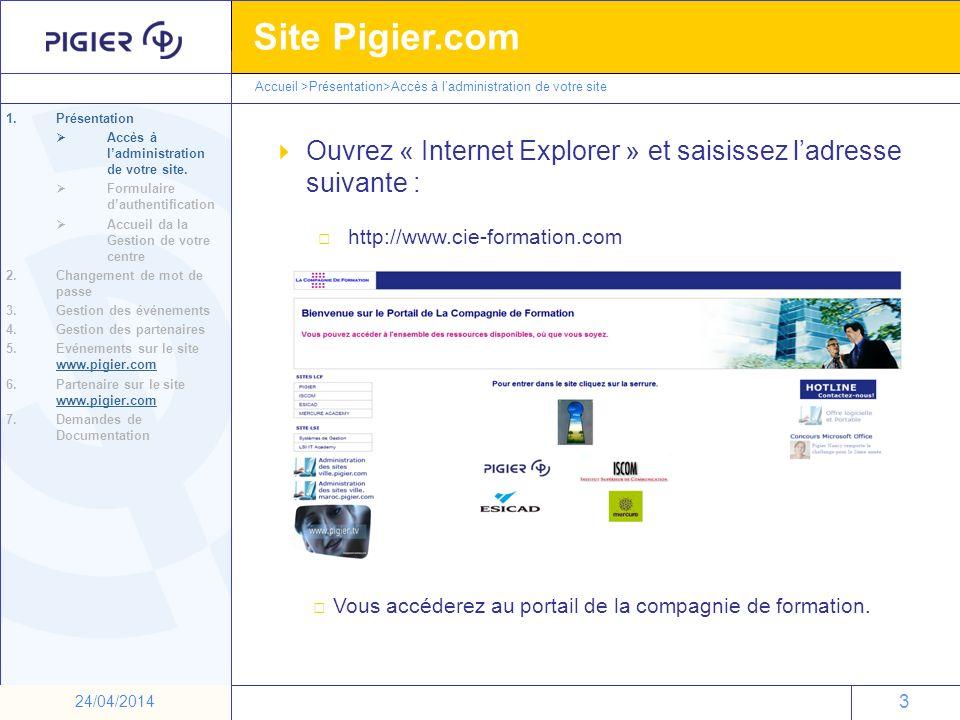 Ouvrez « Internet Explorer » et saisissez l'adresse suivante :