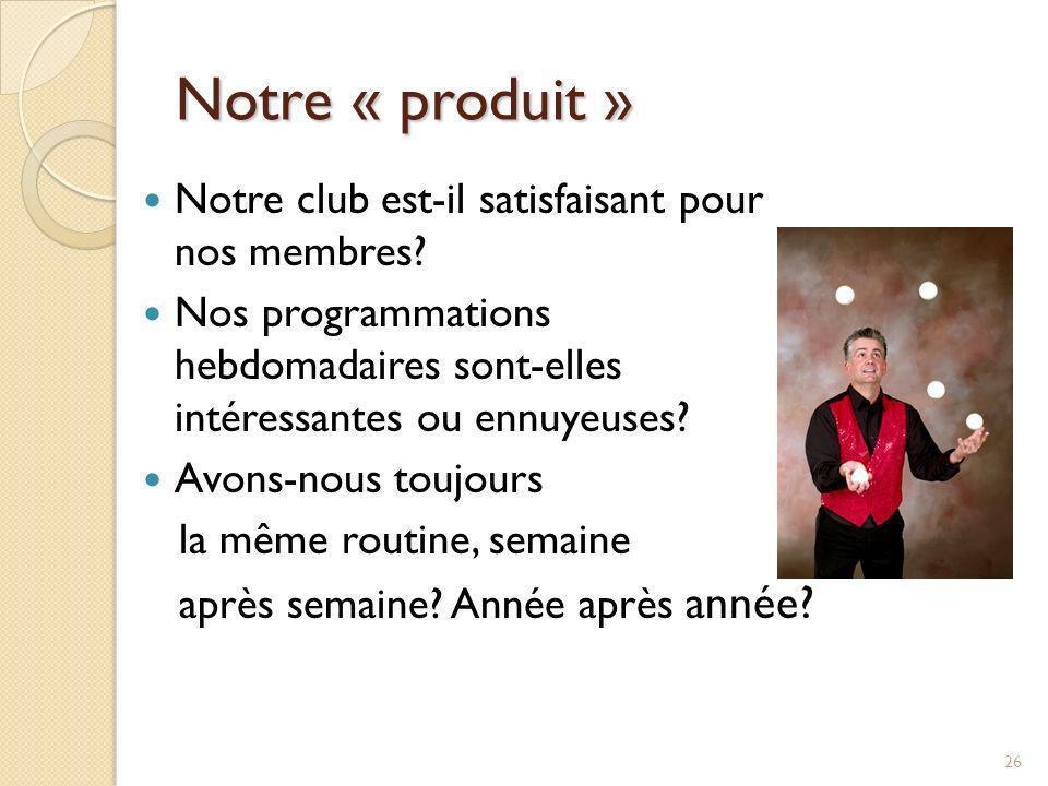 Notre « produit » Notre club est-il satisfaisant pour nos membres
