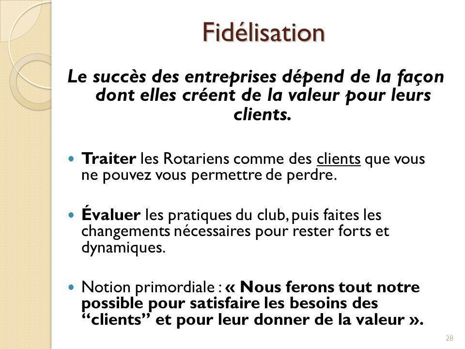 Fidélisation Le succès des entreprises dépend de la façon dont elles créent de la valeur pour leurs clients.