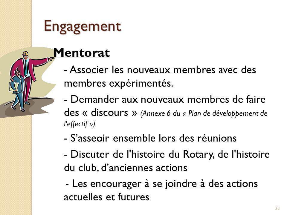 Engagement Mentorat. - Associer les nouveaux membres avec des membres expérimentés.
