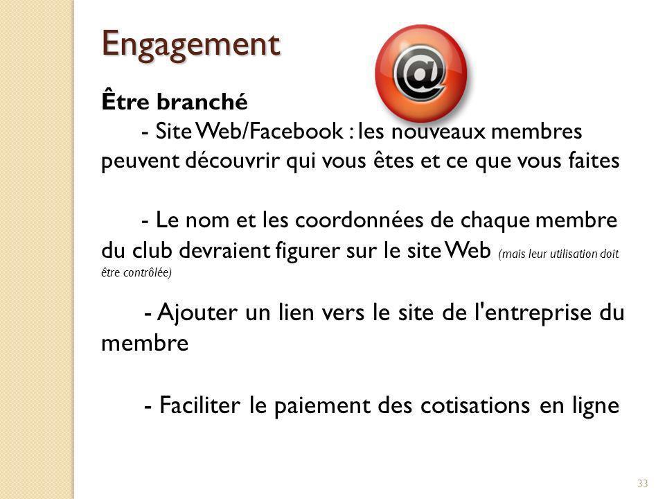 Engagement - Ajouter un lien vers le site de l entreprise du membre