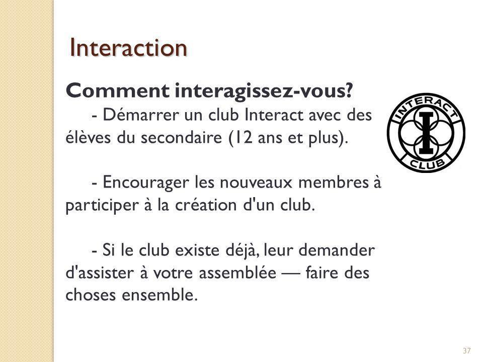 Interaction Comment interagissez-vous