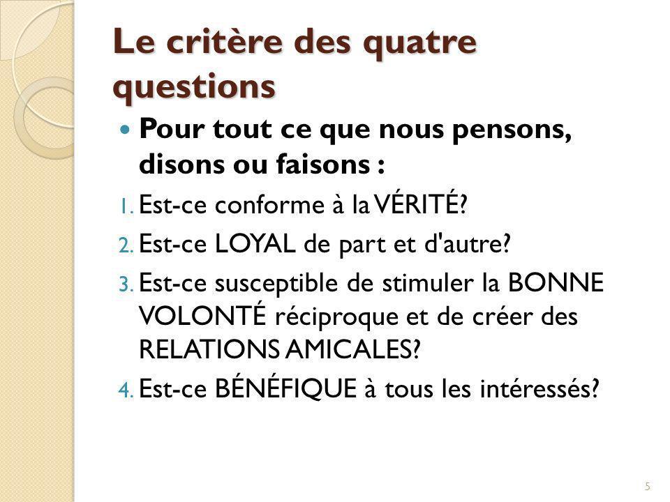 Le critère des quatre questions