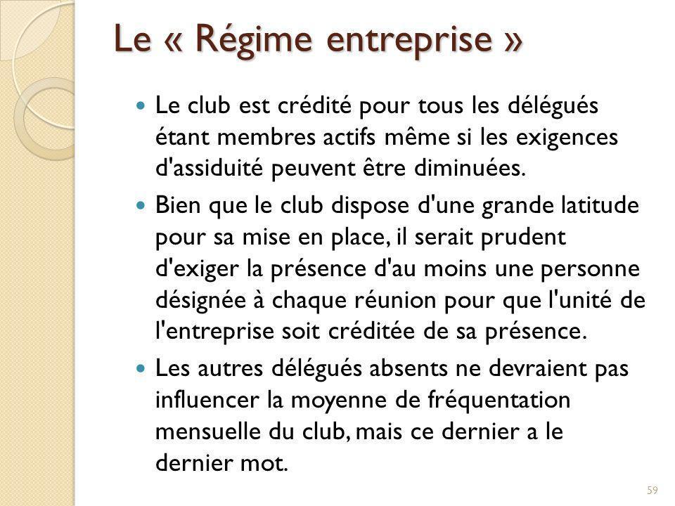 Le « Régime entreprise »