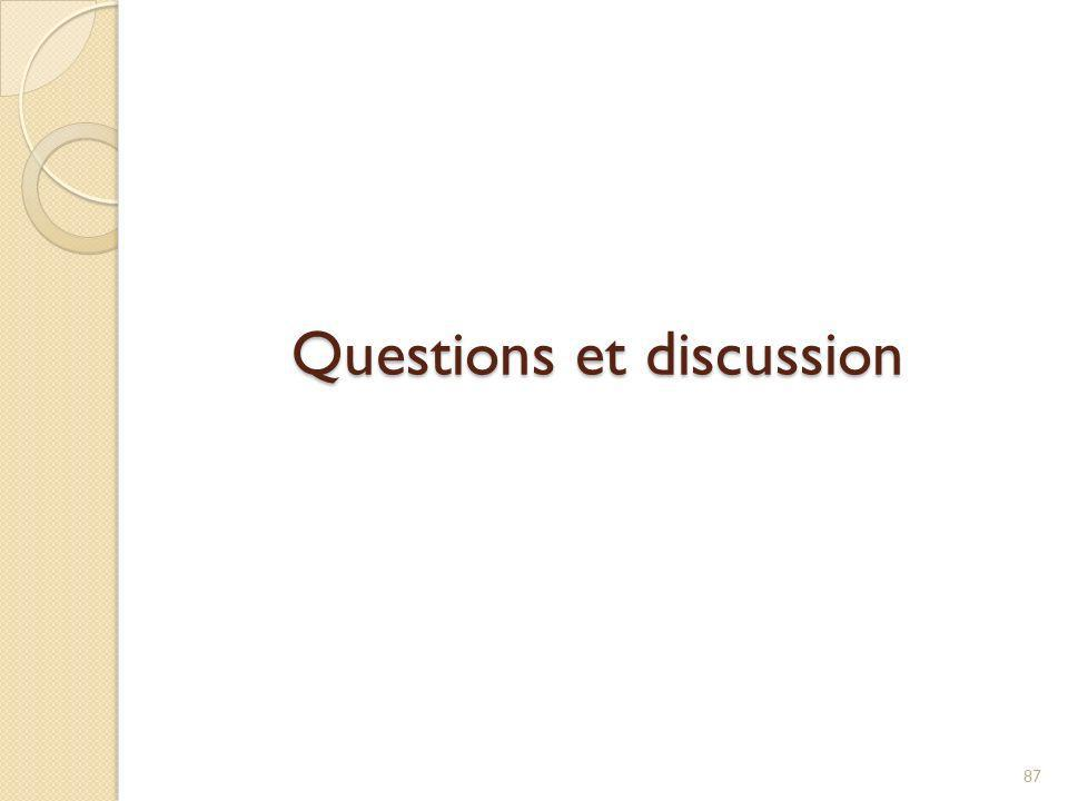 Questions et discussion