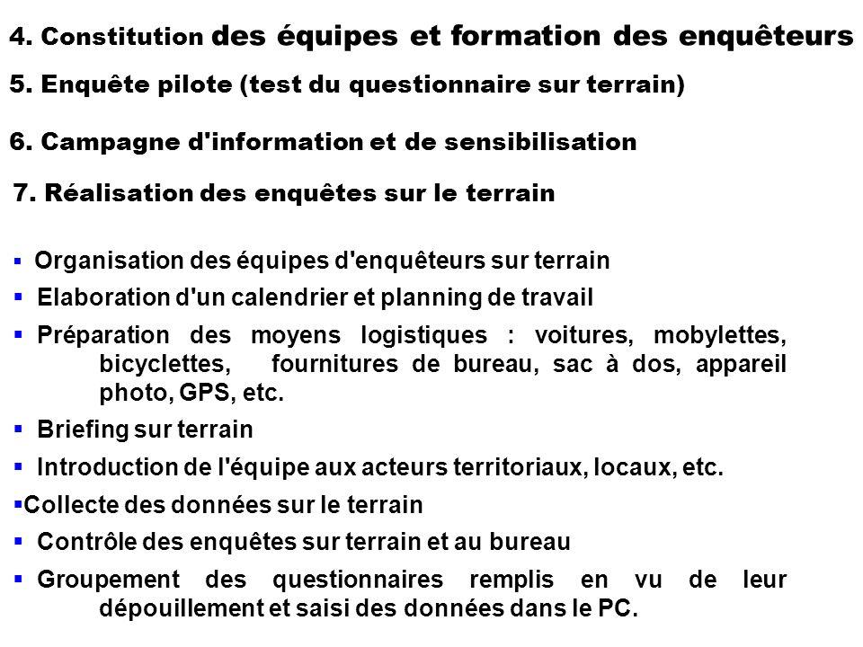 4. Constitution des équipes et formation des enquêteurs