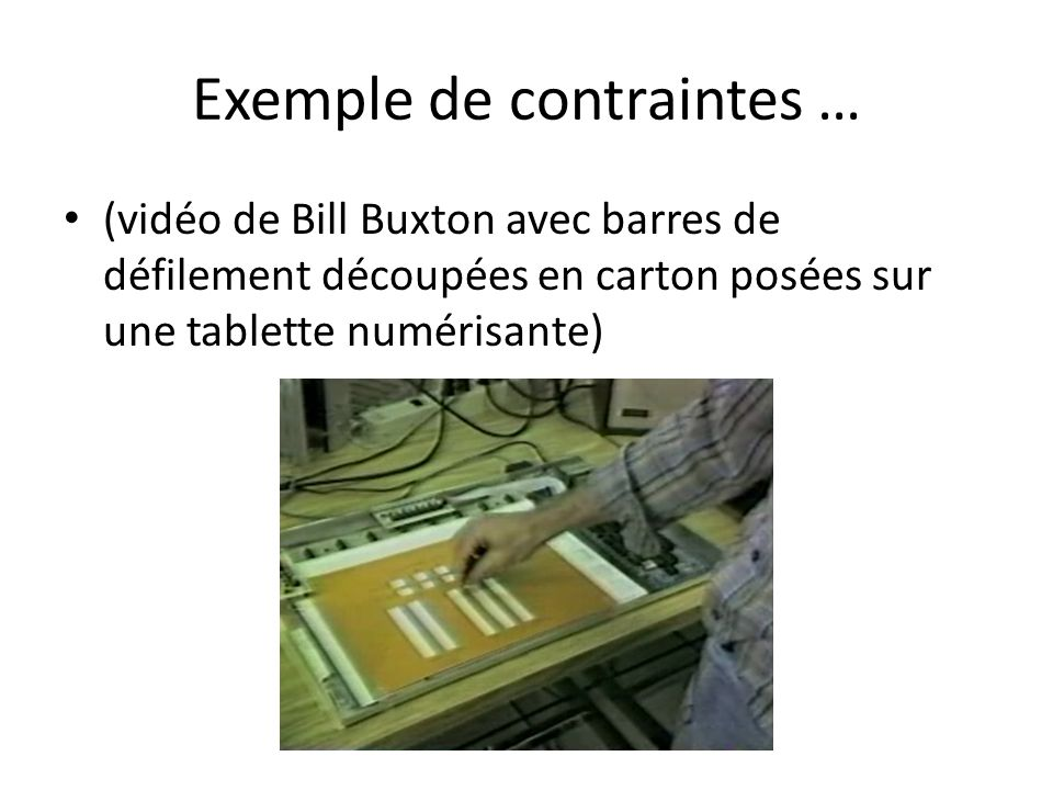Exemple de contraintes …