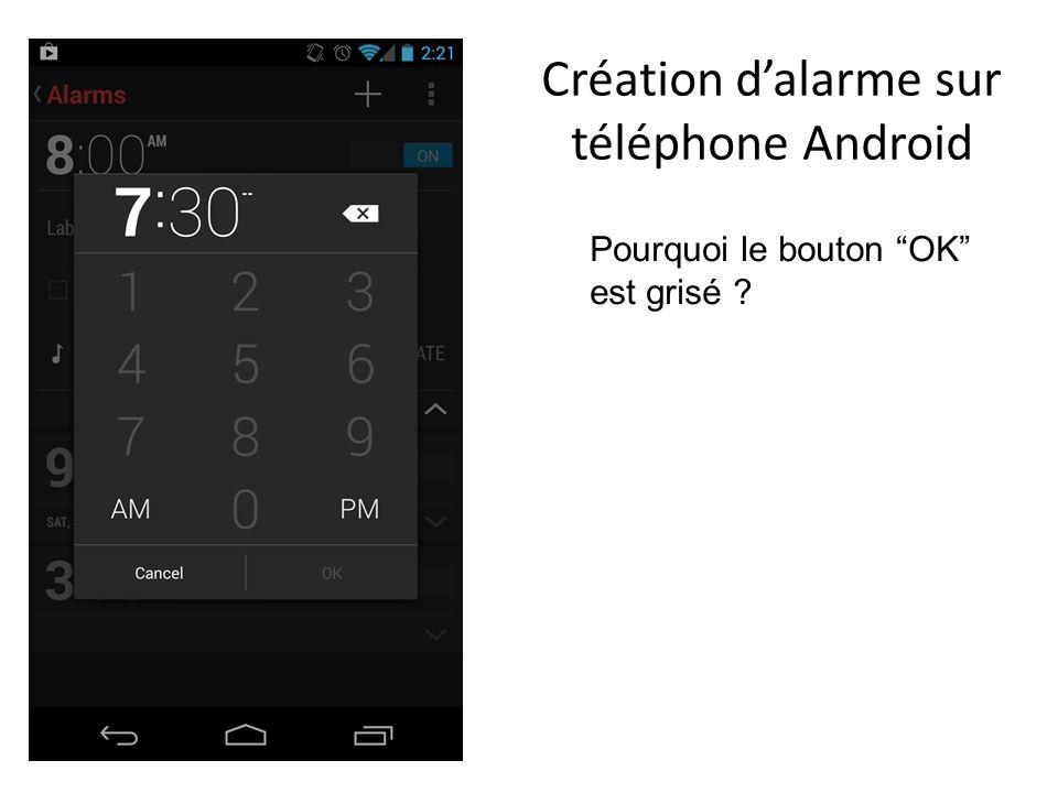 Création d'alarme sur téléphone Android