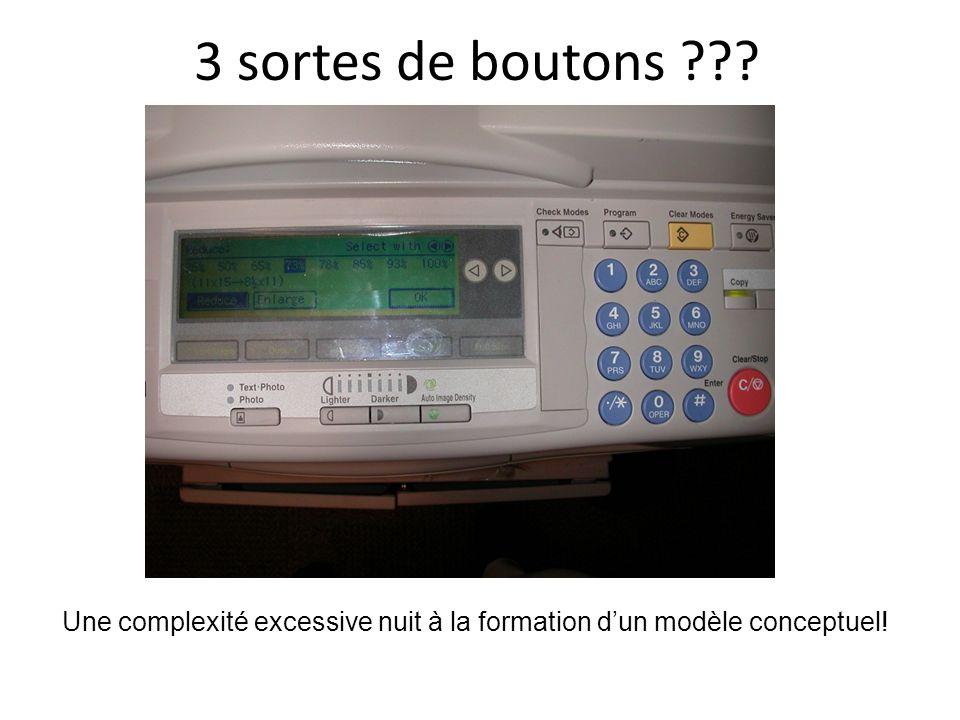 3 sortes de boutons Une complexité excessive nuit à la formation d'un modèle conceptuel!