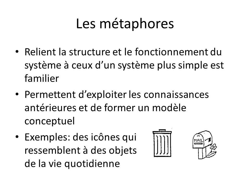 Les métaphores Relient la structure et le fonctionnement du système à ceux d'un système plus simple est familier.