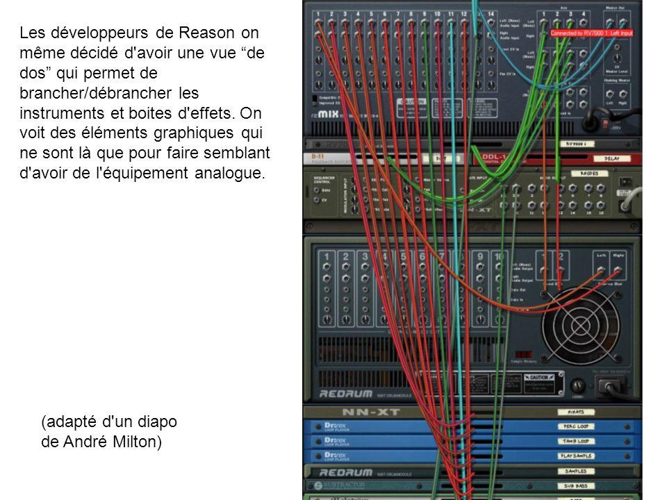 Les développeurs de Reason on même décidé d avoir une vue de dos qui permet de brancher/débrancher les instruments et boites d effets. On voit des éléments graphiques qui ne sont là que pour faire semblant d avoir de l équipement analogue.