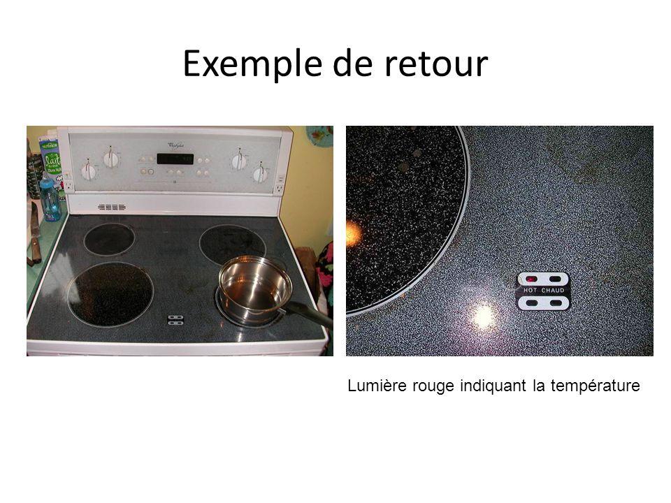 Exemple de retour Lumière rouge indiquant la température