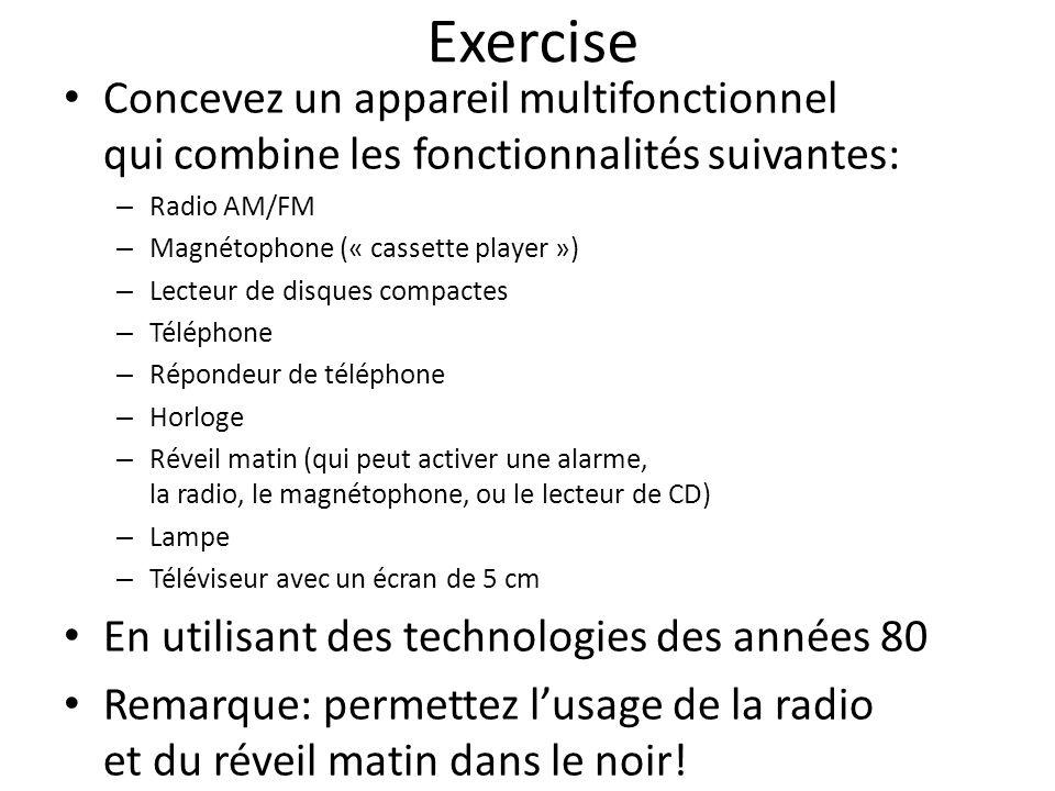 Exercise Concevez un appareil multifonctionnel qui combine les fonctionnalités suivantes: Radio AM/FM.
