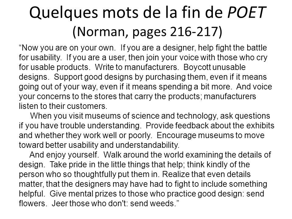 Quelques mots de la fin de POET (Norman, pages 216-217)