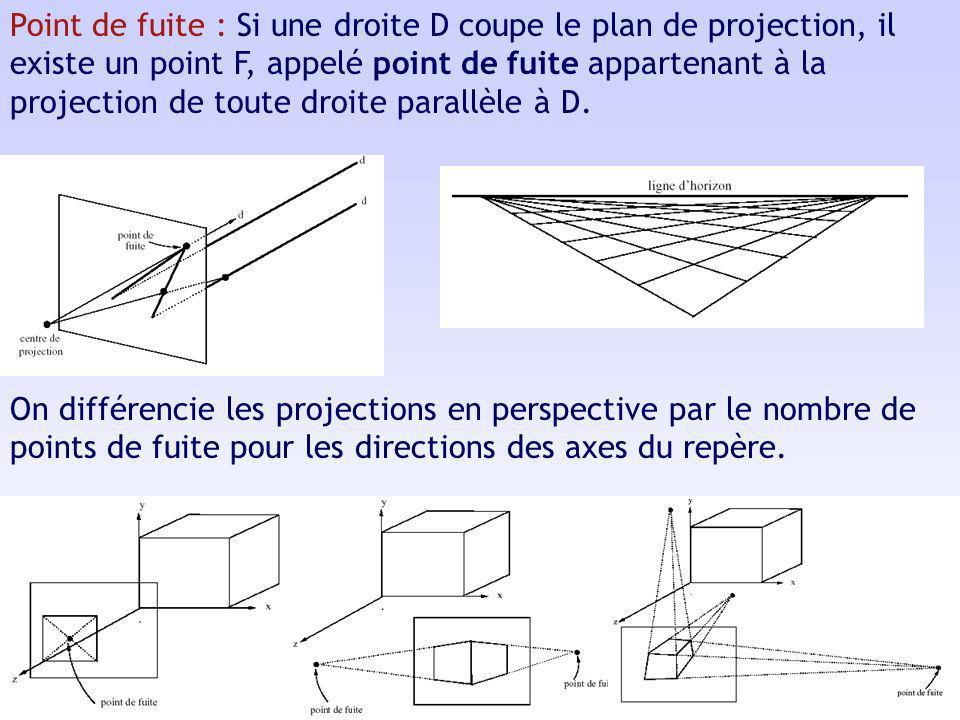 Point de fuite : Si une droite D coupe le plan de projection, il existe un point F, appelé point de fuite appartenant à la projection de toute droite parallèle à D.