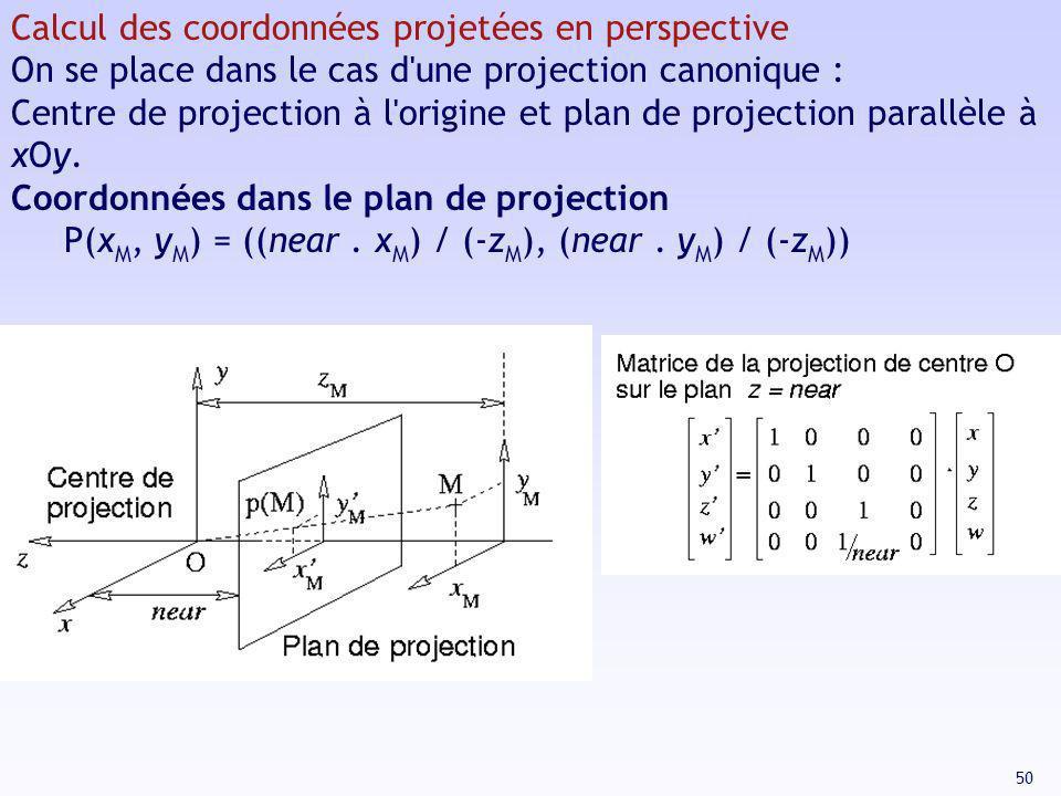 Calcul des coordonnées projetées en perspective
