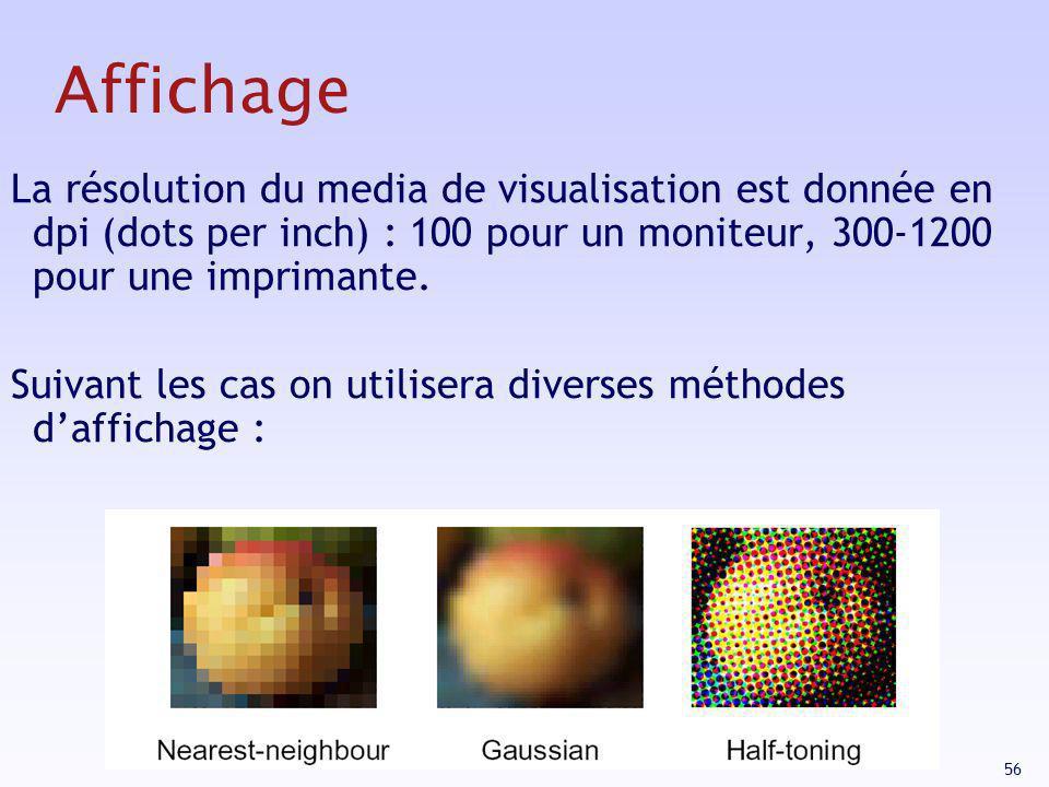 Affichage La résolution du media de visualisation est donnée en dpi (dots per inch) : 100 pour un moniteur, 300-1200 pour une imprimante.