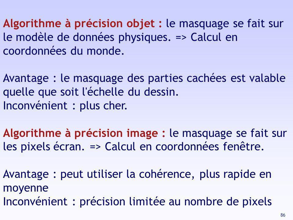 Algorithme à précision objet : le masquage se fait sur le modèle de données physiques. => Calcul en coordonnées du monde.
