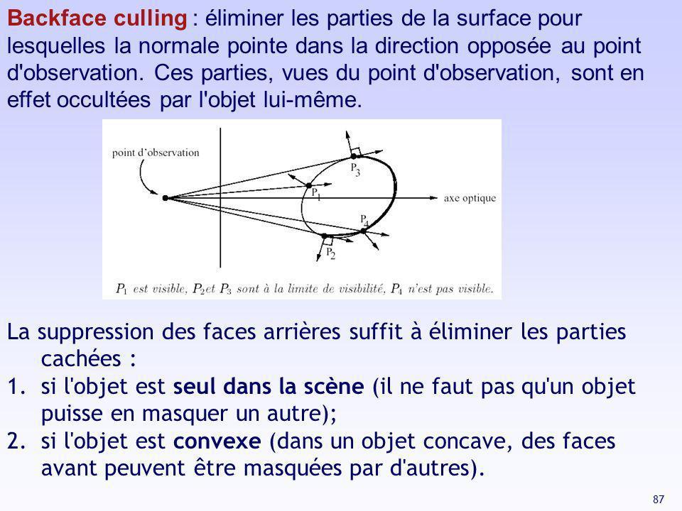 Backface culling : éliminer les parties de la surface pour lesquelles la normale pointe dans la direction opposée au point d observation. Ces parties, vues du point d observation, sont en effet occultées par l objet lui-même.