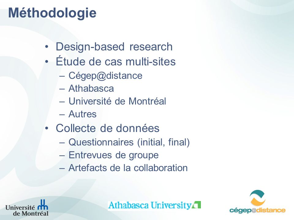 Méthodologie Design-based research Étude de cas multi-sites
