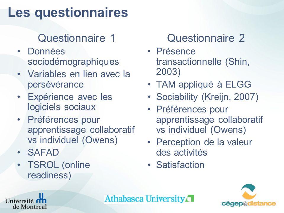 Les questionnaires Questionnaire 1 Questionnaire 2