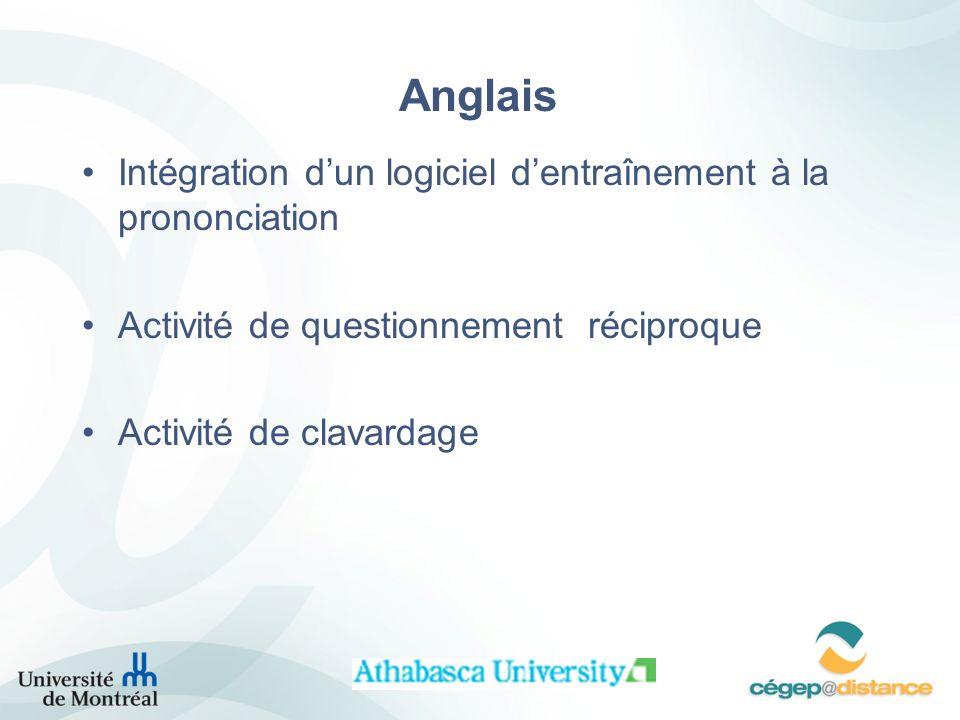 Anglais Intégration d'un logiciel d'entraînement à la prononciation
