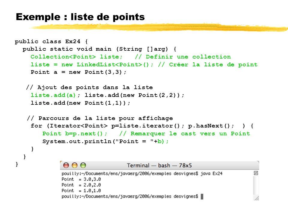 Exemple : liste de points