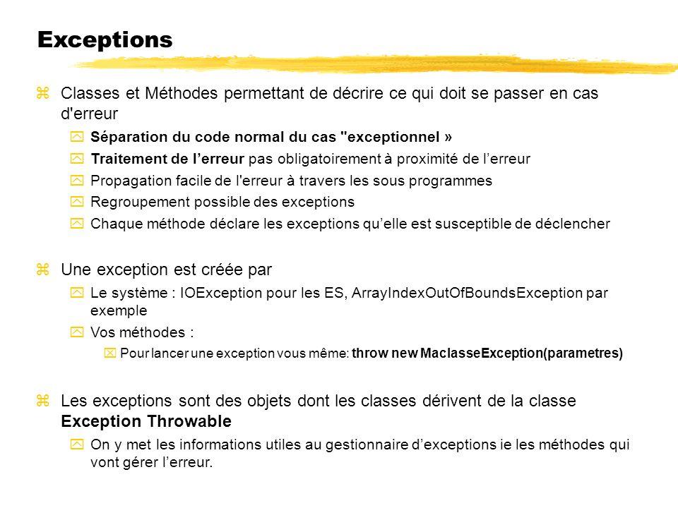 23/04/12 Exceptions. Classes et Méthodes permettant de décrire ce qui doit se passer en cas d erreur.