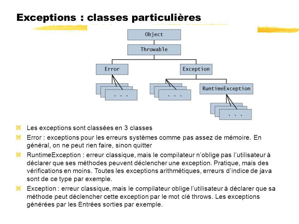 Exceptions : classes particulières