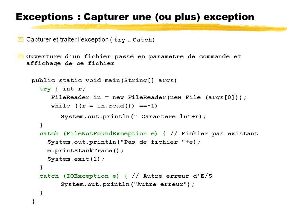 Exceptions : Capturer une (ou plus) exception