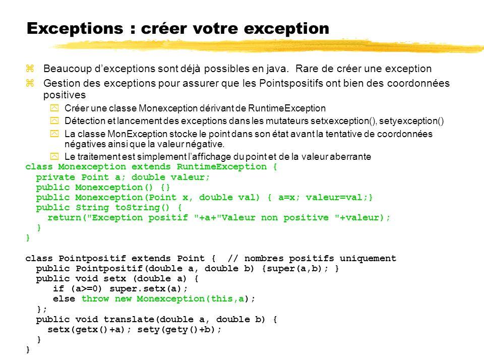 Exceptions : créer votre exception