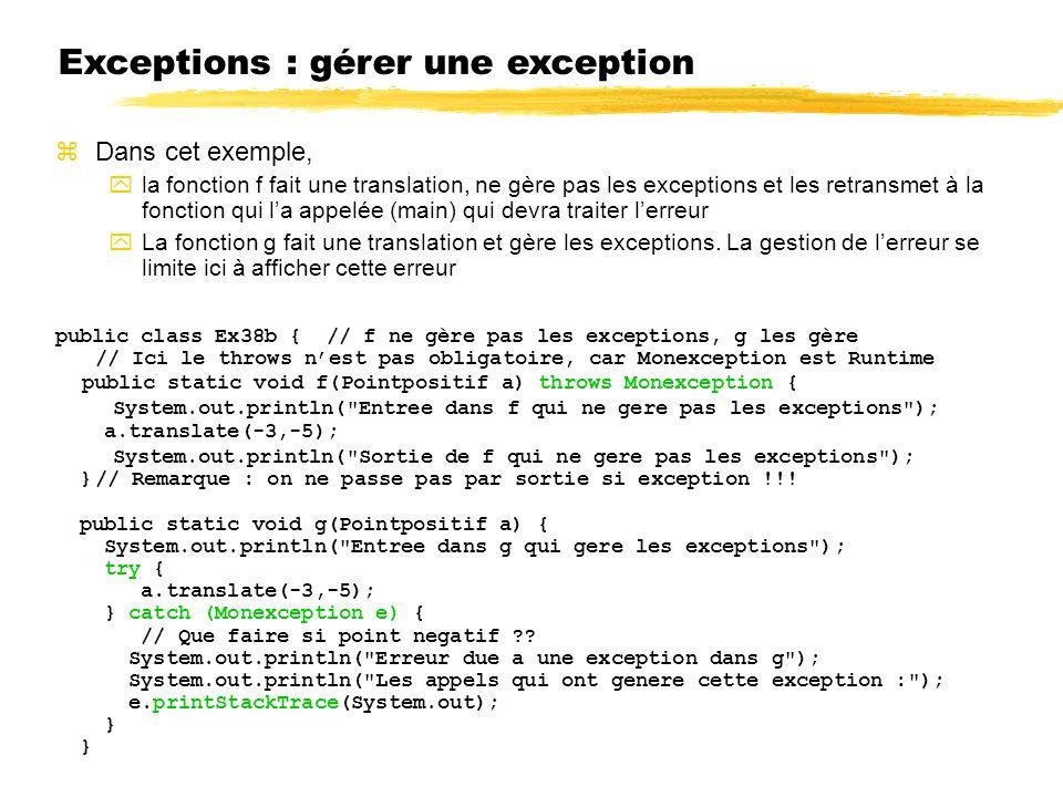 Exceptions : gérer une exception